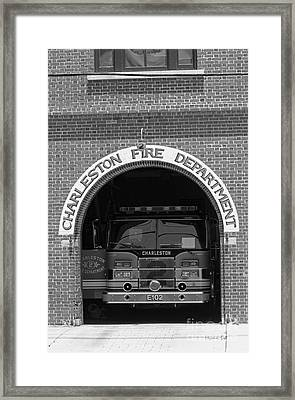 Charleston Fire Department - Black And White Framed Print by Suzanne Gaff