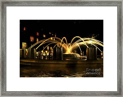 Framed Print featuring the photograph Charleston Fountain At Night by Kathy Baccari