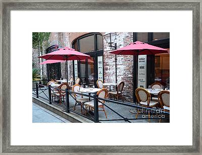 Charleston French Cafe Bistro - Rue De Jean French Restaurant Cafe Bistro Charleston South Carolina Framed Print by Kathy Fornal
