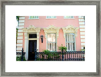 Charleston French Quarter District Mansion - Pink And Black French Architecture Framed Print