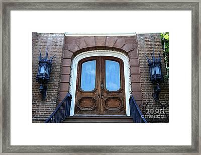 Charleston French Quarter Gothic Ornate Door And Lanterns - Charleston French Quarter Architecture  Framed Print by Kathy Fornal