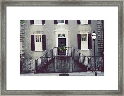 Charleston French Quarter Historial District Mansion - Charleston Black Grey White House And Lantern Framed Print