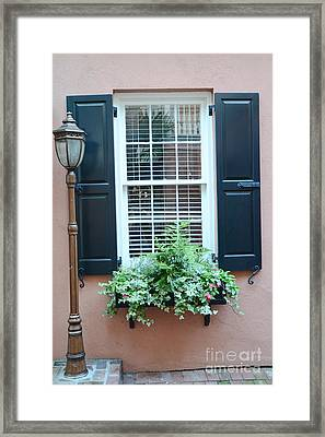 Charleston French Quarter Window Box And Street Lamp - Romantic Charleston Window Flower Boxes Framed Print by Kathy Fornal