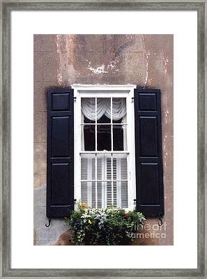 Charleston French Quarter Window Flower Box - Charleston Architecture Black And White Window Box Framed Print by Kathy Fornal