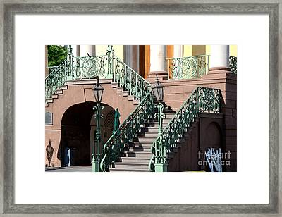 Charleston Historical District Staircase And Lanterns - Aqua Teal Staircase Architecture  Framed Print by Kathy Fornal
