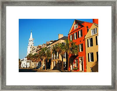 Charleston Painted Row Framed Print by James Kirkikis