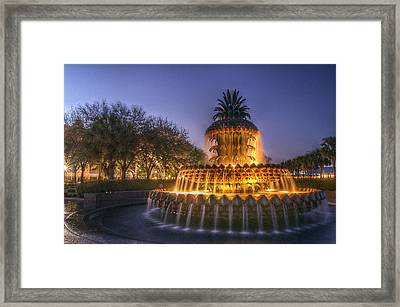 Charleston Pineapple Fountain Framed Print