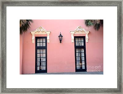 Charleston Coral White Black Architecture - Charleston Historical District - The Mills House Framed Print