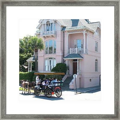 Charleston Pink House Architecture With Horse And Carriage - Charleston Victorian Pink Homes  Framed Print by Kathy Fornal