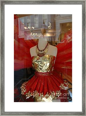 Charleston Red And Gold Holiday Dress Shop Framed Print