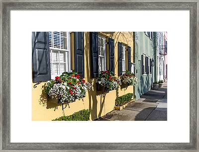 Charleston Sc Rainbow Row Framed Print