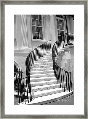 Charleston South Carolina Black White Staircase Architecture Framed Print