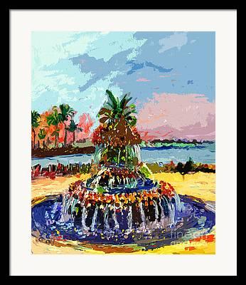 Abstract Fountain Mixed Media Framed Prints