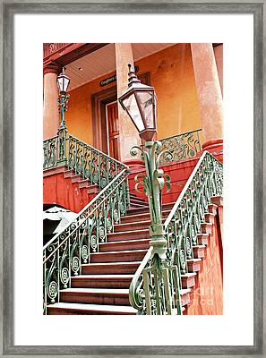 Charleston Staircase Street Lamps Architecture Framed Print by Kathy Fornal