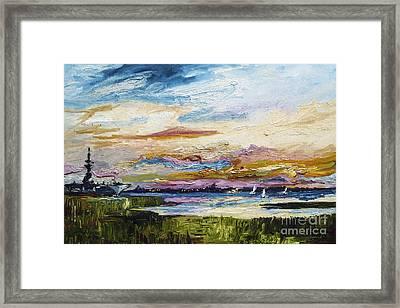 Charleston Sunset Uss Yorktown Framed Print by Ginette Callaway