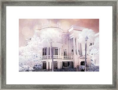 Charleston Victorian Mansion Battery Park Infrared Landscape Framed Print by Kathy Fornal