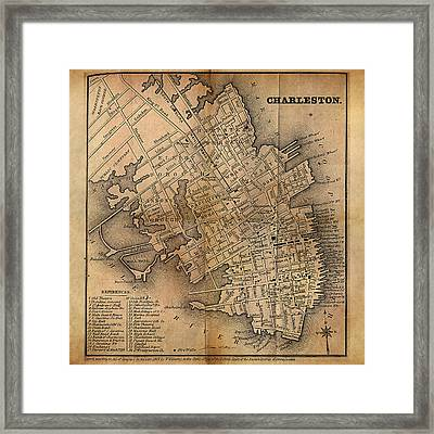 Framed Print featuring the painting Charleston Vintage Map No. I by James Christopher Hill