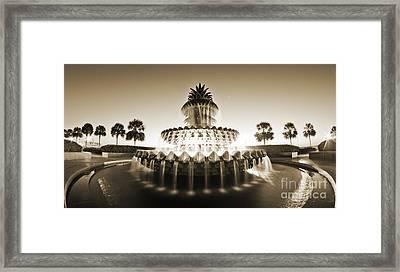 Charleston Waterfront Park Pineapple Fountain Framed Print by Dustin K Ryan