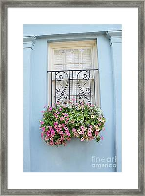 Charleston Window Box Flower Photography - Charleston Rainbow Row Blue Aqua Dreamy Flower Window Box Framed Print by Kathy Fornal