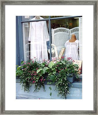 Charleston Window Boxes - Charleston Flowers Window Box And Lingerie Shop  Framed Print by Kathy Fornal