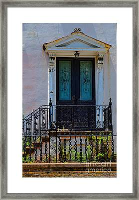 Charleston Wood Door Etched Glass Framed Print