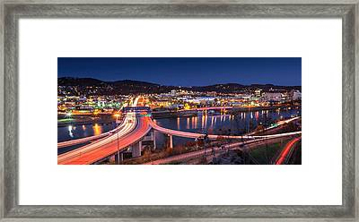 Charleston Wv At Night Framed Print