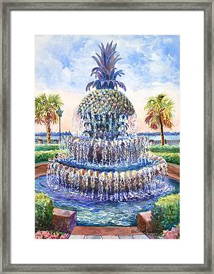 Charleston's Pineapple Fountain Framed Print by Alice Grimsley