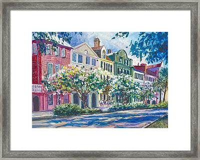 Charleston's Rainbow Row Framed Print by Alice Grimsley