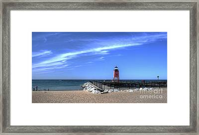 Charlevoix Lighthouse And Beach Framed Print by Twenty Two North Photography