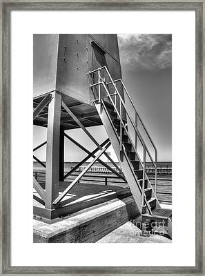 Charlevoix Lighthouse In Black And White Framed Print by Twenty Two North Photography