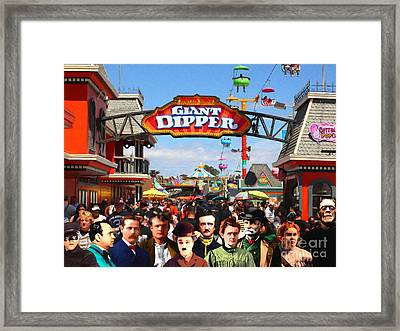 Charlie And Friends Cannot Decide Between The Giant Dipper The Sky Gliders Or The Side Shows V2 Framed Print by Wingsdomain Art and Photography