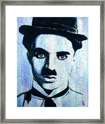 Framed Print featuring the painting Charlie Chaplin Little Tramp Portrait by Bob Baker