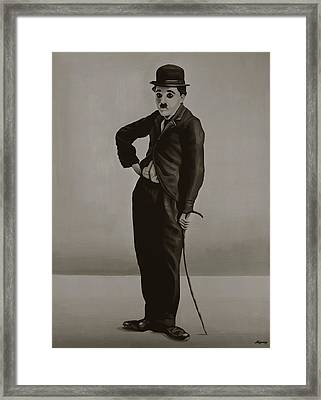 Charlie Chaplin Painting Framed Print by Paul Meijering