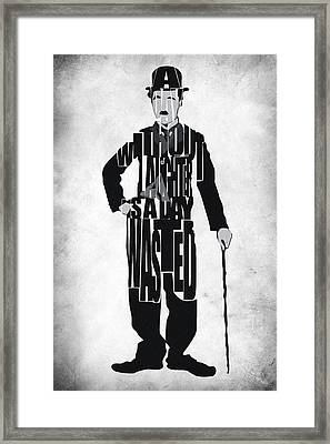 Charlie Chaplin Typography Poster Framed Print