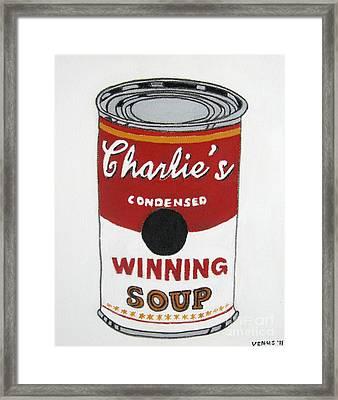 Charlie Sheen Soup Framed Print by Venus