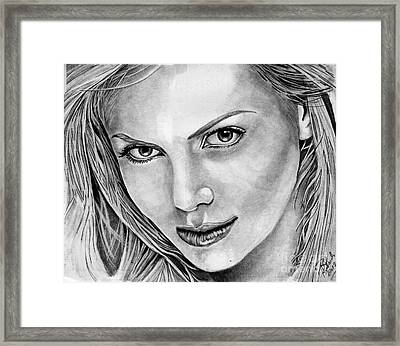Charlize Theron Framed Print by Bill Richards