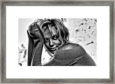 Charlize Theron Portrait Framed Print by Florian Rodarte