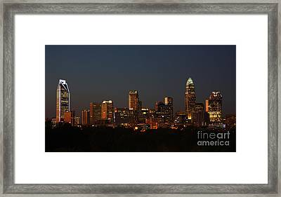 Charlotte City Skyline At Sunset Framed Print by Kevin McCarthy