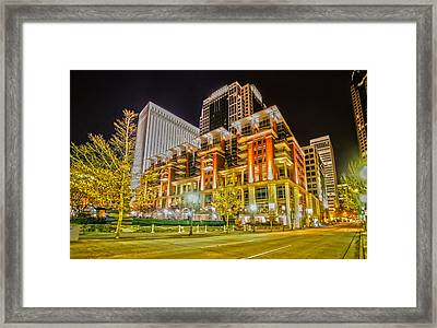 Charlotte City Skyline Night Scene Framed Print