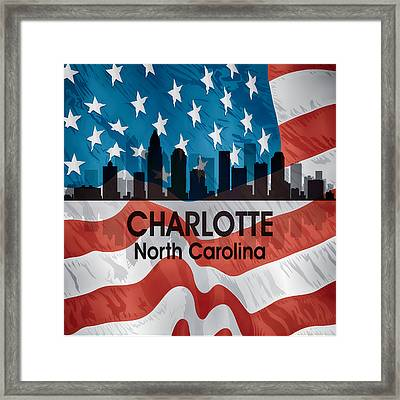 Charlotte Nc American Flag Squared Framed Print by Angelina Vick