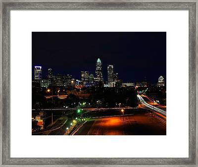 Charlotte Nc At Night Framed Print by Chris Flees
