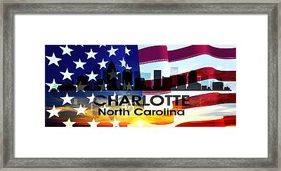 Charlotte Nc Patriotic Large Cityscape Framed Print by Angelina Vick