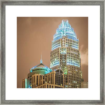 Charlotte Nc Usa Skyline During And After Winter Snow Storm In January Framed Print by Alex Grichenko