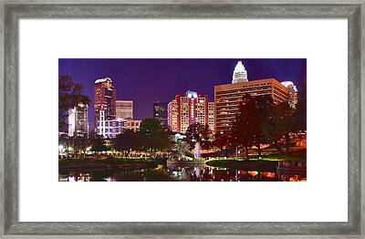 Charlotte Night Panoramic  Framed Print