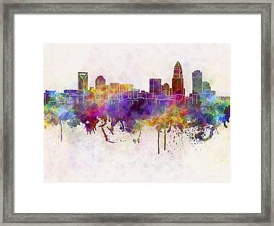 Charlotte Skyline In Watercolor Background Framed Print