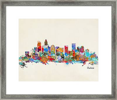 Charlotte Skyline North Carolina Framed Print