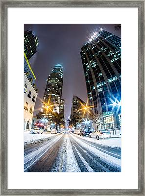Charlotte Tryon Street In Snow 2014 Framed Print by Alex Grichenko