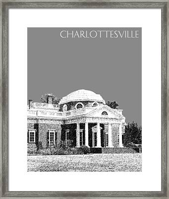 Charlottesville Skyline Monticello - Pewter Framed Print