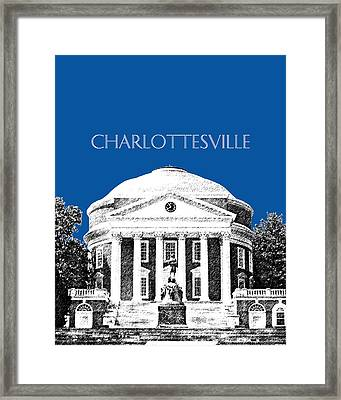 Charlottesville Va Skyline University Of Virginia - Royal Blue Framed Print by DB Artist