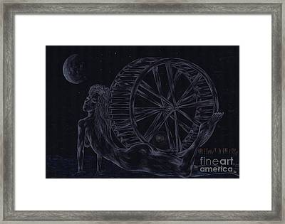 Framed Print featuring the drawing Charm Of The Moon. by Kenneth Clarke